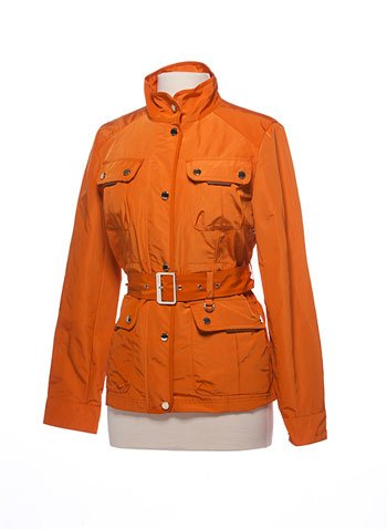 Orange Tumi belted rain jacket