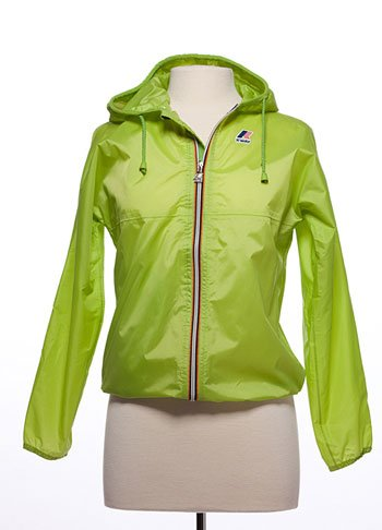 Lime green K-Way women's wind and rain repellant jacket