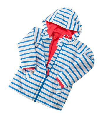 Blue and White striped Boden girl's raincoat