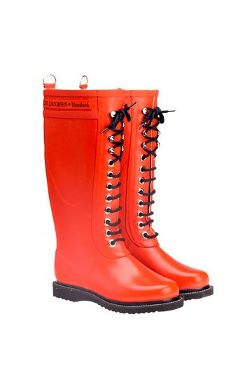 Ilse Jacobsen orange natural rubber lace-up boots