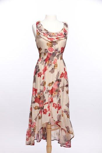 Blue Bird floral chiffon ruffled dress
