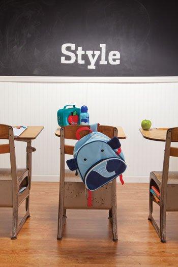 Bakker apple lunchbox, Beatrix New York Lucas whale water bottle, & Skip Hop Zoo Packs elephant backpack