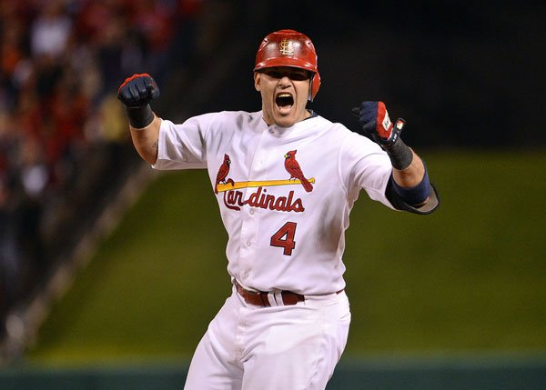 Catcher Yadier Molina was fired up in Game 4, with two hits and two RBIs.