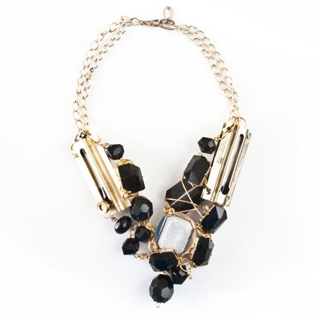 Black & Gold Double Chain Lock necklace by Hyper Haute