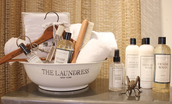 Laundress Denim Wash, Delicate Wash, Wool & Cashmere Shampoo, Wool & Cashmere Spray, Laundry Bags, and Goat Hair Brushes