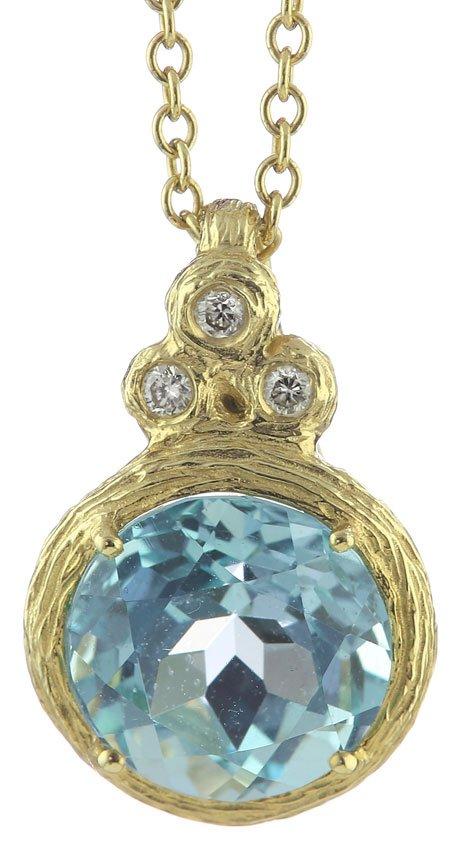 14K Yellow Gold Rolo Pendant with Three Round Burnish Set of Diamonds & 10MM Round Blue Topaz