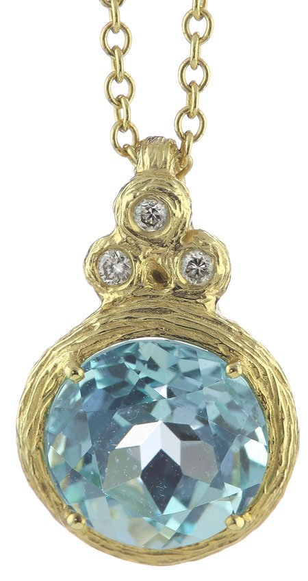 14K Yellow Gold Rolo Pendant with Three Round Burnish Set of Diamonds & 10MM Round Blue Topaz