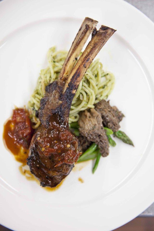 Course Three: Grilled, Marinated Jones Heritage Farm Lamb Rack Chop with Pesto Spaghetti