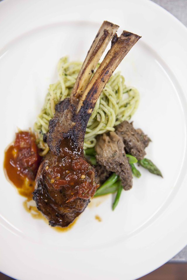 Course Three: Grilled, Marinated Jones Heritage Farm Lamb Rack Chop with Pesto Spaghetti