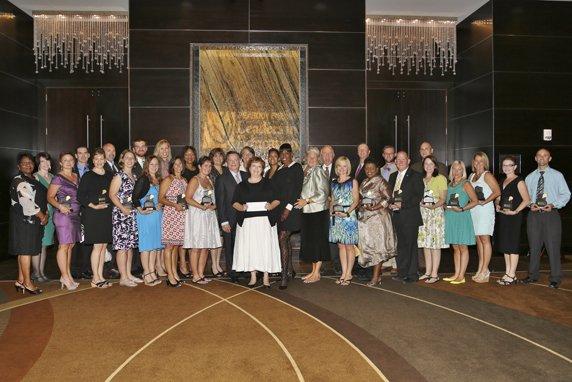 Maureen Moore, Jackie Joyner-Kersee, Greg Boyce with Honorees