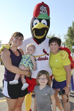 Gina, Addison, and Audrey Miller, Diane Adams with Fredbird