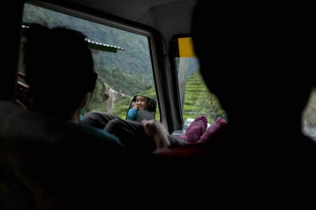 After spending the week volunteering, Esguerra makes the rough three-hour jeep ride through the mountains on the way back to Kathmandu.