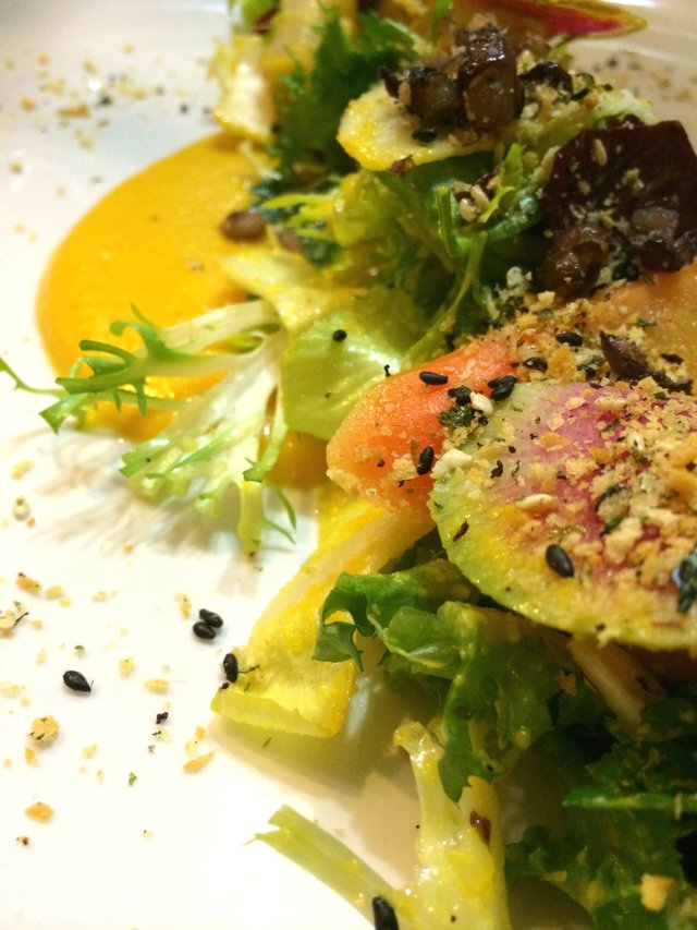 Salad of winter vegetables topped with sesame seeds, seaweed and panko..jpg