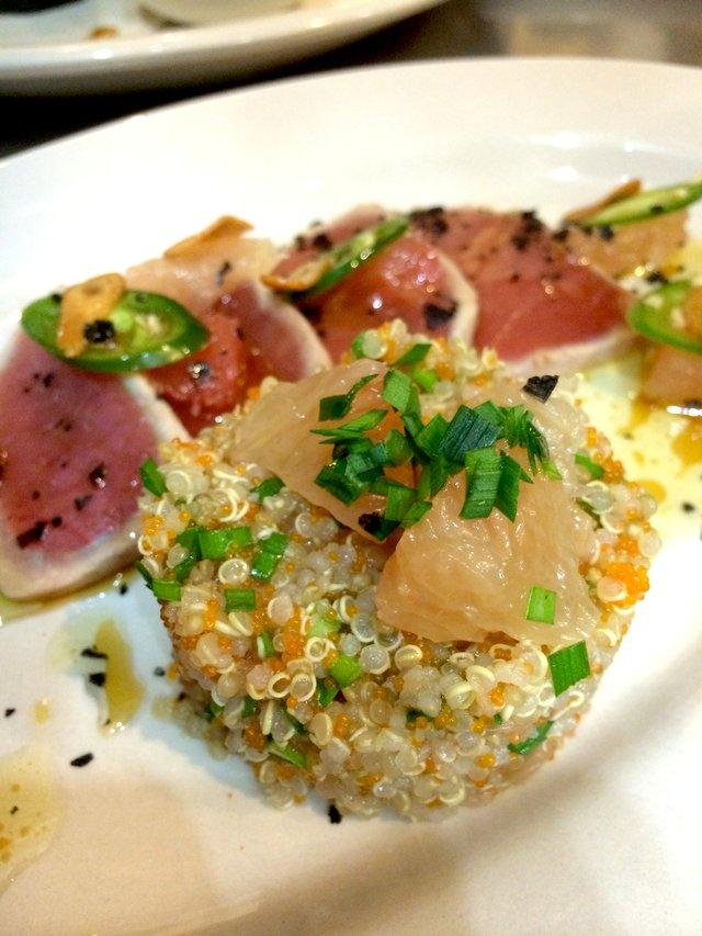 Tuna Tataki with grapefruit, quinoa, garlic and chiles..jpg