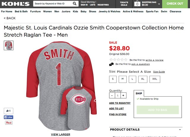 official photos c98cc a46fe Kohl's Is Selling an Ozzie Smith Cardinals Jersey With a ...
