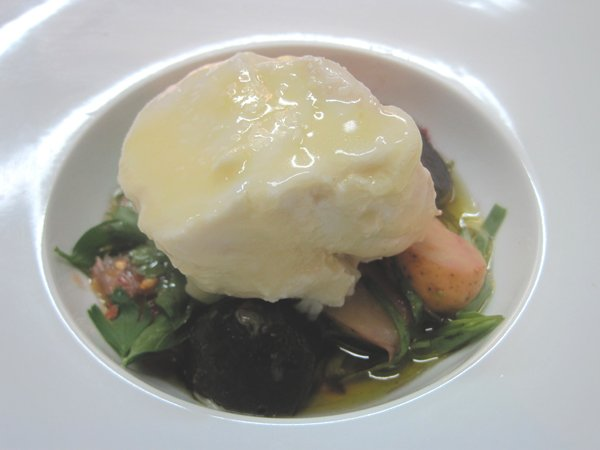 Poached halibut with pickled potatoes, herbs, grapefruit, and olive ...
