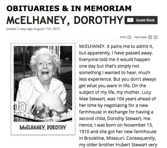 writing your own obituary