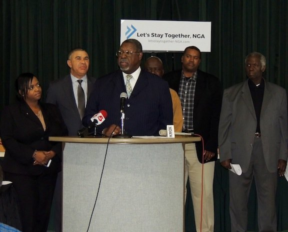 St. Louis Clergy Coalition President Reverend Charles Brown Joins Congressman Lacy CLay , Alderwoman Tamkia.jpg