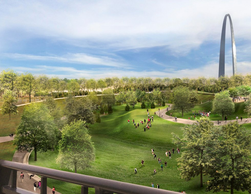 Arch parking garage replaced with amphitheater garden - Interior design schools in st louis mo ...