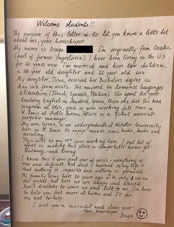 This letter written by a Wash U housekeeper is warming the
