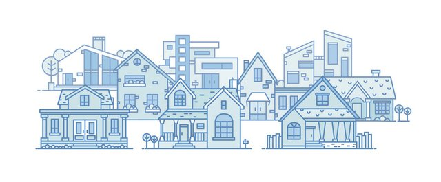 Residential Houses lineart  set color