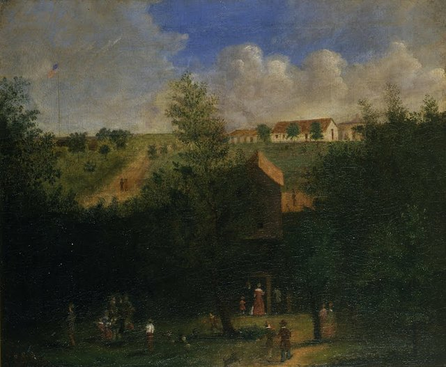 Painting of Englsih Cave, showing entrance and beer garden above, Courtesy of Missour History Museum, 1932-011-0003.jpg
