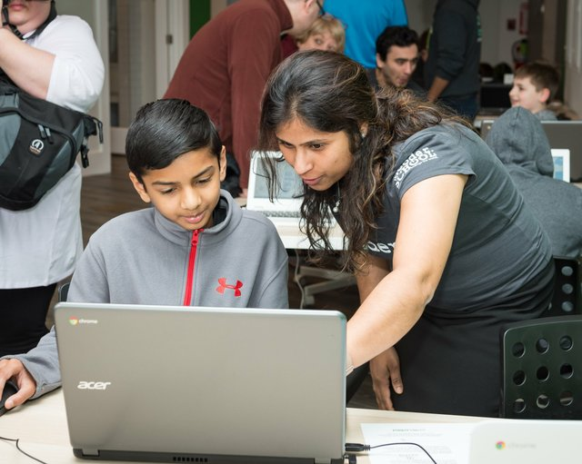 Spaush Shaw of Buffalo Grove with Code Coach Anamika Singh at theCoderSchool grand opening.jpg