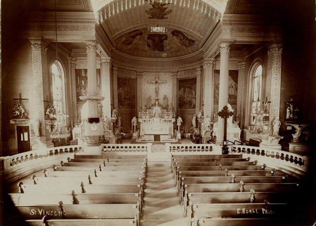 Emil Boehl, Interior, St. Vincent de Paul Catholic Church. 1408 South Tenth Street. Consecrated 1845, Missouri History Museum, N40529.jpg