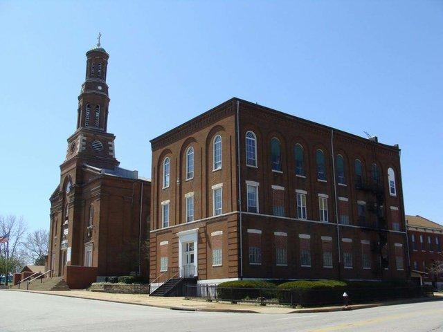 St. Vincent de Paul Roman Catholic Church with School, Photo by Chris Naffziger.jpg