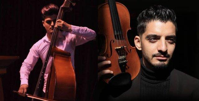 Diyar Jamal, bassist, and Lawan Ali, violinist