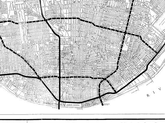 Plate 20 from City of St. Louis 1947 Comprehensive Plan, showing Planned Interstates .jpg