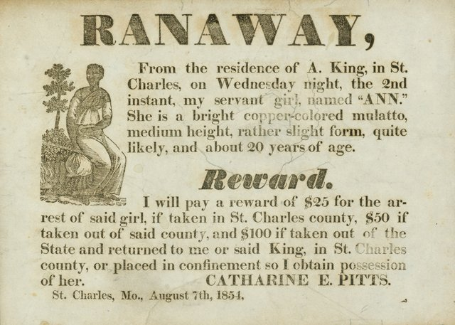 Advertisement by Catharine Pitts for Escaped Slave Ann, August 7, 1854, Missouri History Museum, D02488.jpg