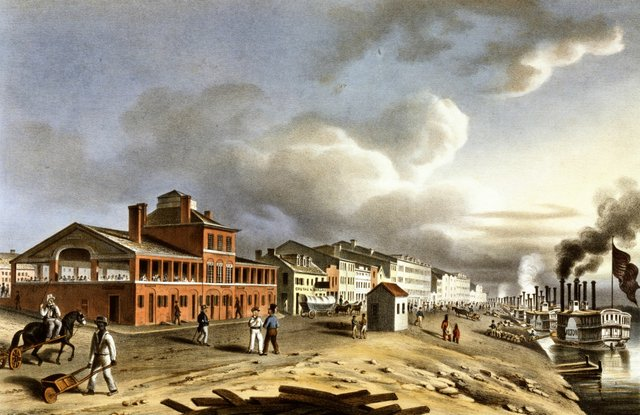 A hand-colored lithograph of the St. Louis Levee around 1840 by J.C. Wild