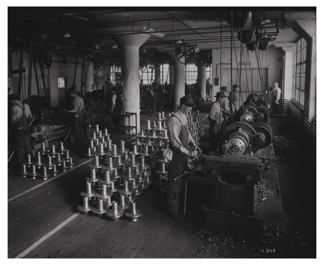 Turn Back Side of Flange Artillery Hub Manufacturing, Wagner Electric, ca. 1918, Missouri History Museum, P0244-K0598.jpg