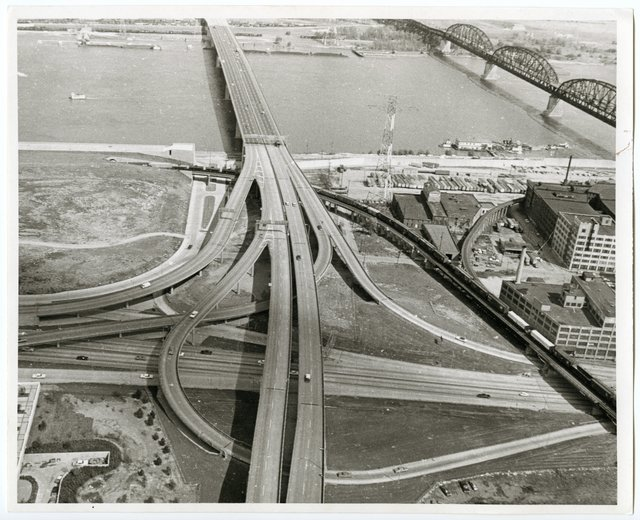 Highway ramps approaching Poplar Street Bridge, a. 1970, Missouri History Museum, St. Louis, P0197-S02-00024.jpg