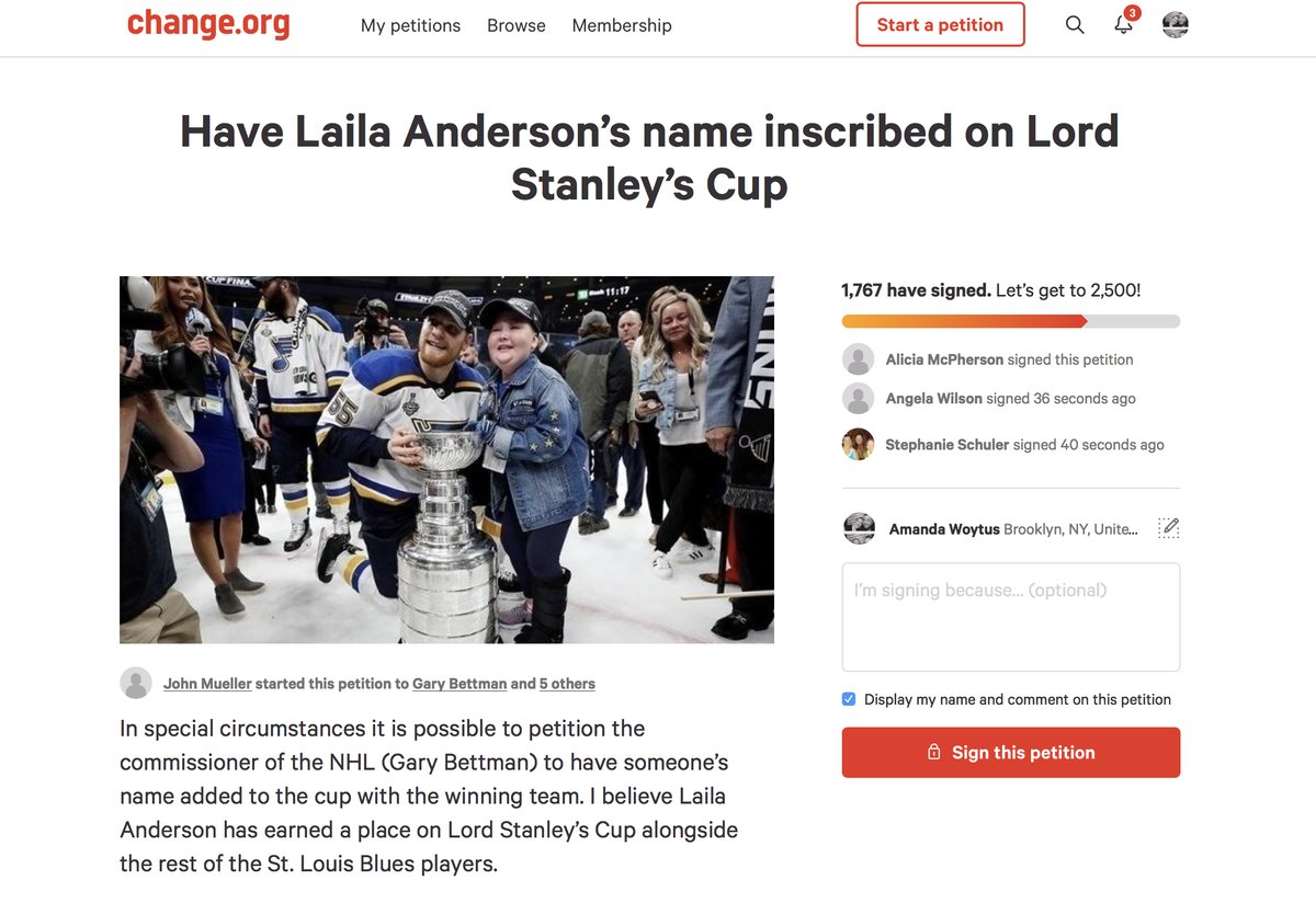A petition to add Blues superfan Laila Anderson's name to the Stanley Cup has almost 2,000 signatures