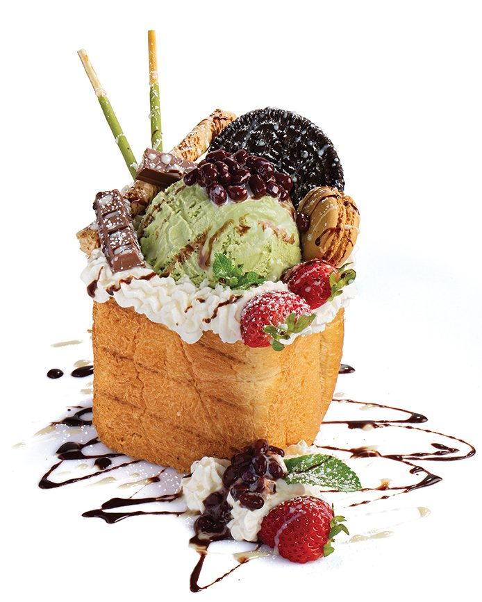 Anatomy of an Insta-wonder: The Mocha Lover Toast at Share Sweet features matcha ice cream, Pocky sticks, and brioche