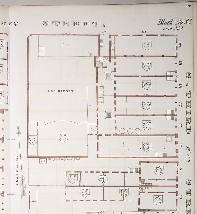 Detail of 1870 Whipple Fire Insurance Map, showing Washington Brewery and Beer Garden at Southwest Corner of Third and Elm, Missouri History Museum, St. Louis.jpg
