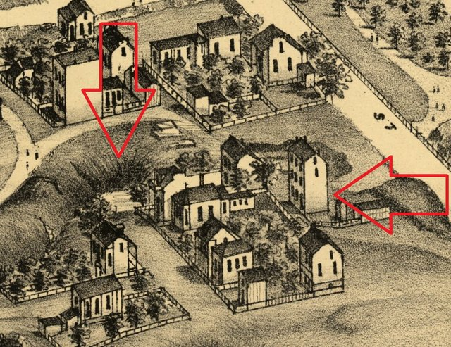 Compton and Dry's Pictorial St. Louis Showing George Schneider's Brewery in Benton Park, Arrows showing Brewery and Sinkholes, Library of Congress.jpg