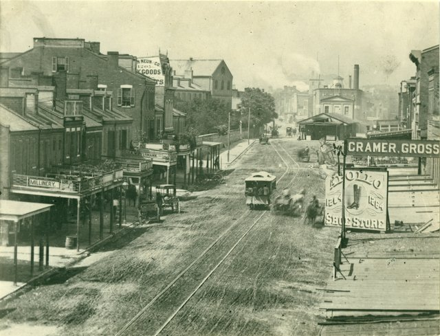 North up Broadway, French Market in Center with Old Sacred Heart Convent to Left, 1872, Photograph by Emil Boehl, Missouri History Museum, St. Louis, N14773.jpg
