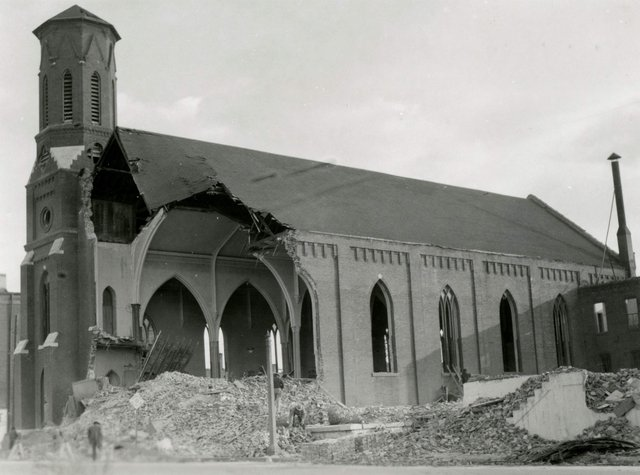 St. Malachy's Being Demolished, 2900 Clark Street, 1959, Photograph by William Swekosky, Missouri History Museum, N05200.jpg