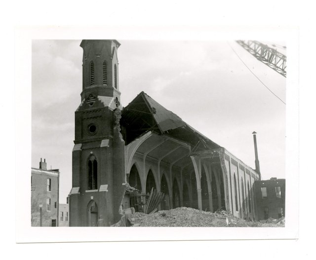 St. Malachy's Being Demolished, 2900 Clark Street, 1959, Photograph by William Swekosky, Missouri History Museum, N05198.jpg