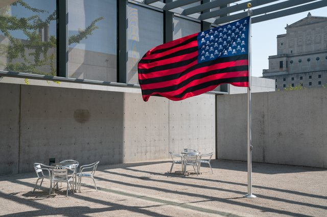 Stephanie Syjuco- Rogue States, installation view, Contemporary Art Museum St. Louis, September 6-December 29, 2019. Photo- Dusty Kessler 7 flag.jpg