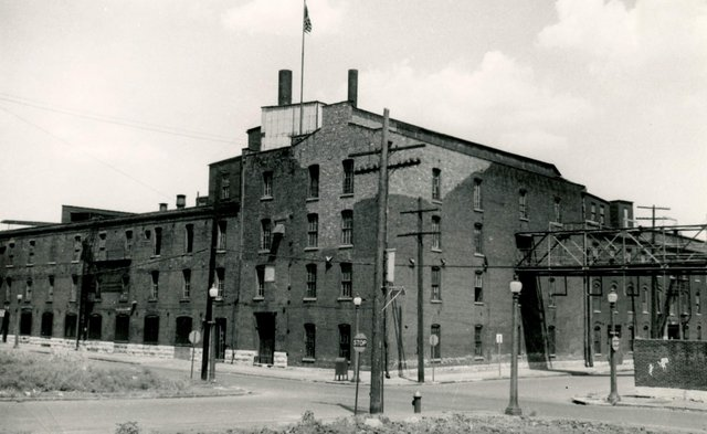 John J. Roe Pork Packing Plant, N.E. Third and Convent, Wrecked 1954, Photograph by William Swekosky, Missouri History Museum, N04664.jpg