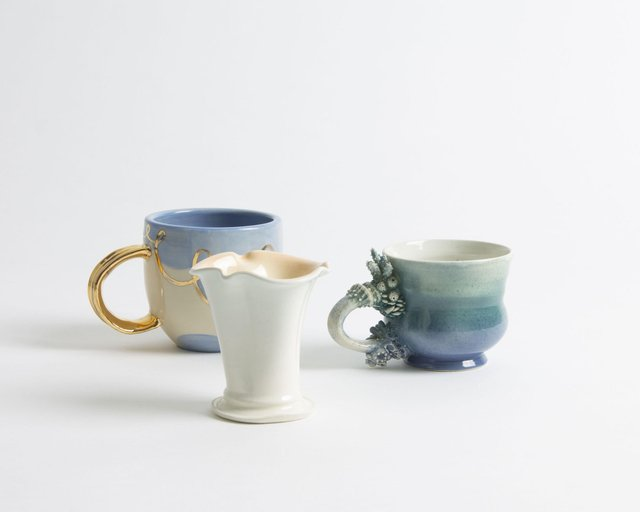 Gilded mug by Jam & Bee Ceramics, cup by Whitney White, and mug by Jennifer Dormuth.jpg