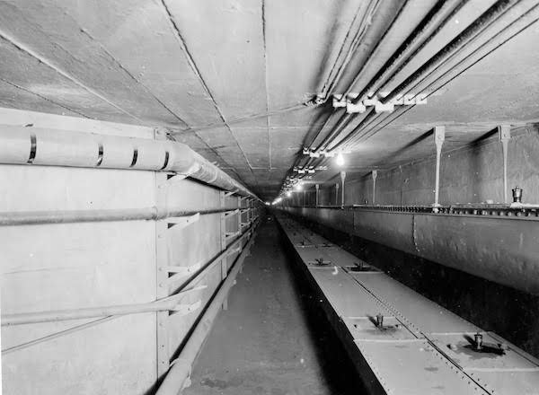 Grain conveyors in tunnel 350 Feet Long between Elevator and Malt House, Lemp Brewing Co, 208040, Courtesy of Museum of Innovation and Technology, Schenectady, NY.jpg