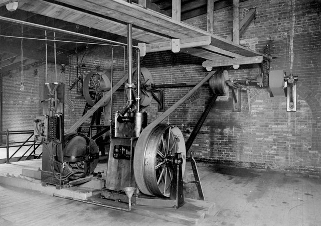 Motor driving air compressor and grain elevator in Malt House, Lemp Brewery, 208037 CR, Courtesy of Museum of Innovation and Technology, Schenectady, NY.jpg