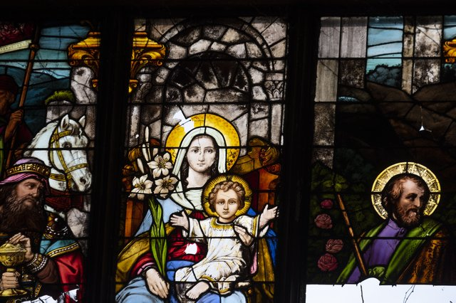 Detail of the Virgin Mary and Christ from the Nativity by Emil Frei, Stained Glass Window in the South Transept of St. Augustine, Photograph by Jason Gray.jpg