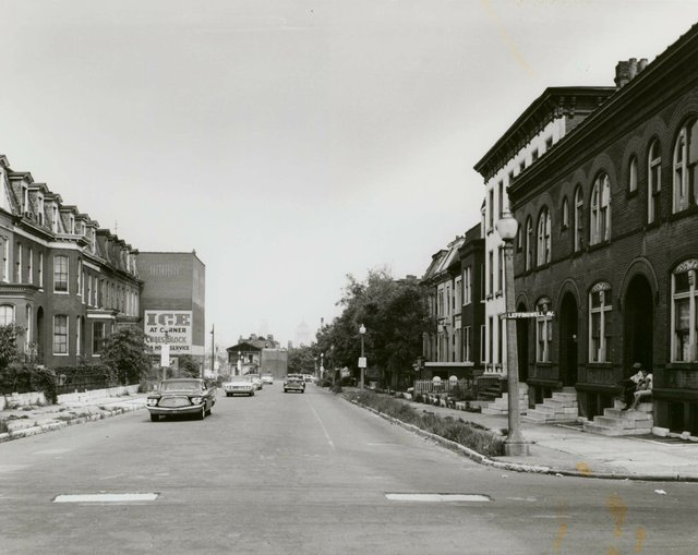 Irv, Schankman, Lawton Boulevard looking east at Leffingwell Avenue during Mill Creek Valley demolition, 12 July 1960, Missouri History Museum, N30961.jpg