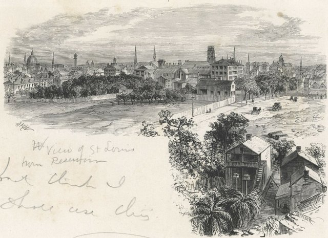 View of St. Louis from Reservoir, A.R. Waud, c. 1875, wood engraving, Missouri History Museum, N45656.jpg